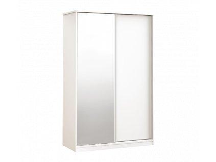 Skříň s posuvnými dveřmi a zrcadlem bílá