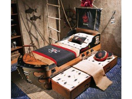 Dětská postel loď velká 90x190 cm Black Pirate