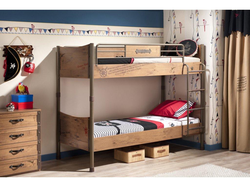 1bdc638ee8d2 Detská poschodová posteľ 90x200 cm Pirate - Hezký detský nábytok