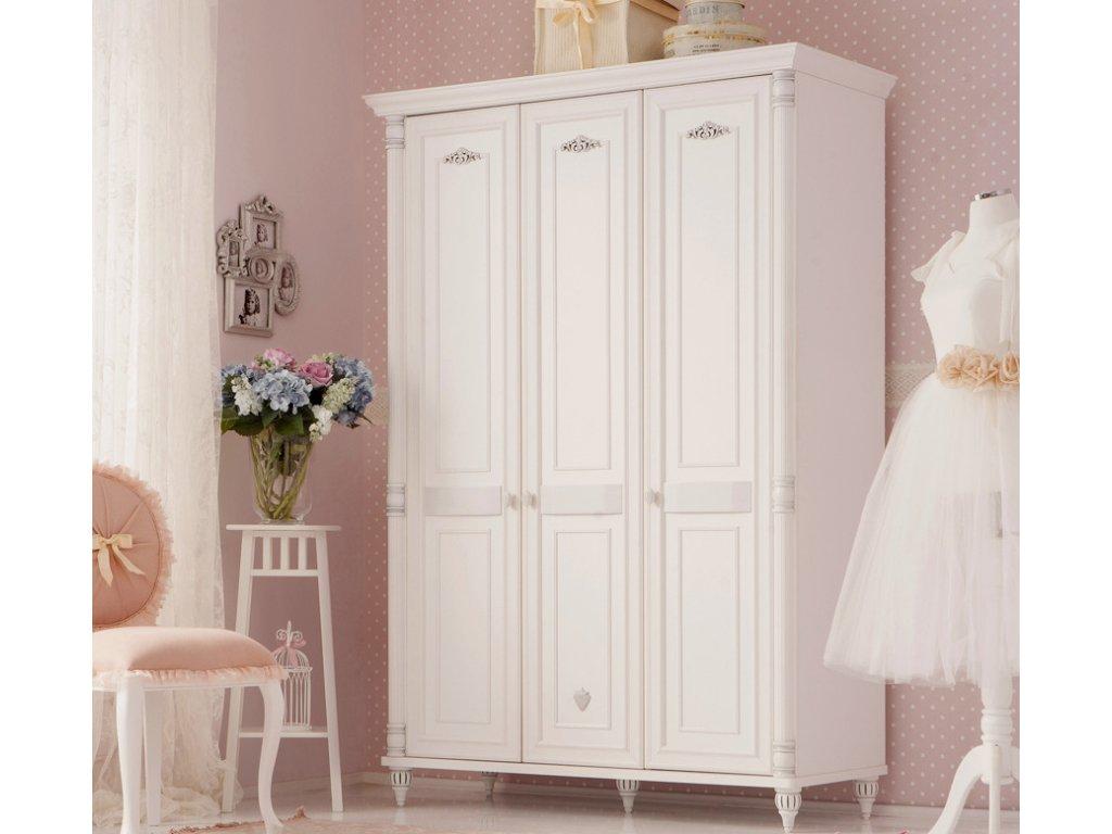 bd56901254 Detská šatníková skriňa trojdverová Romantic - Hezký detský nábytok