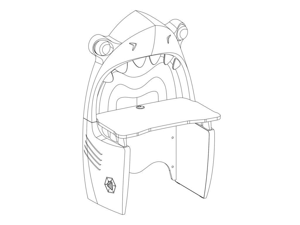 Detský písací stôl žralok Black Pirate