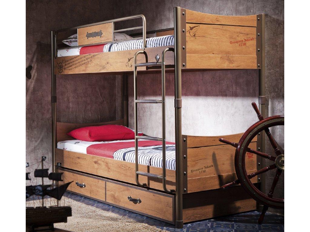 b5e73b170f11 Detská poschodová posteľ s prístelkou Pirate - Hezký detský nábytok