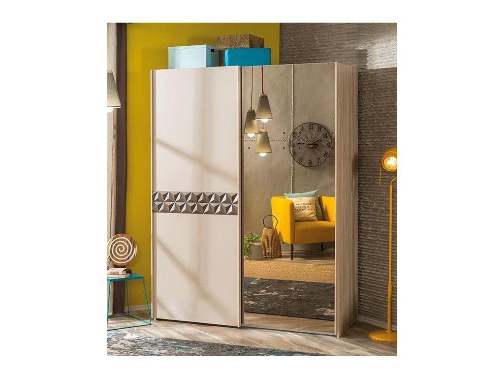 a1efe7699f128 Študentská šatníková skriňa posuvné dvere Lofter - Hezký detský nábytok