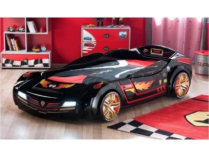 Detská posteľ auto 90x195 cm BiTurbo čierna