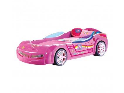 Detská posteľ auto 90x195 cm BiTurbo ružová