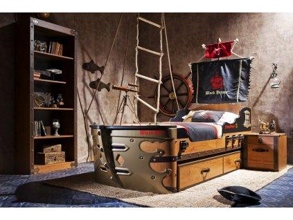 Detská posteľ loď veľká 90x190 cm Black Pirate