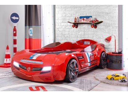 Detská posteľ auto 90x195 cm BiTurbo červená