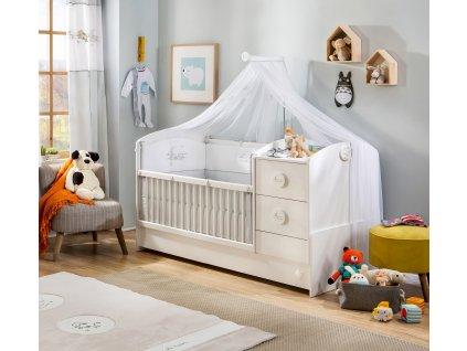 Detská rastúca postieľka s prebaľovacím pultom Baby Cotton