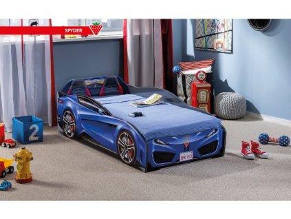 Detská posteľ auto 70x130 cm Spyder modrá