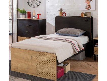 Študentská posteľ 100x200 cm Black