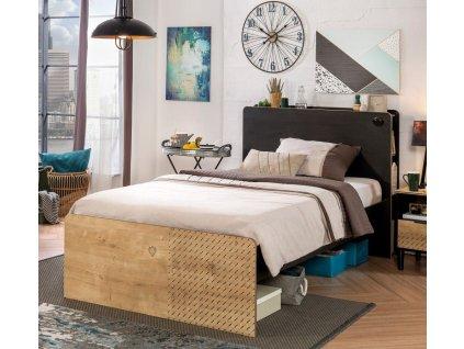 Študentská posteľ 120x200 cm Black