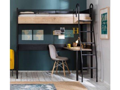 Detská zvýšená posteľ s písacím stolom Black Compact