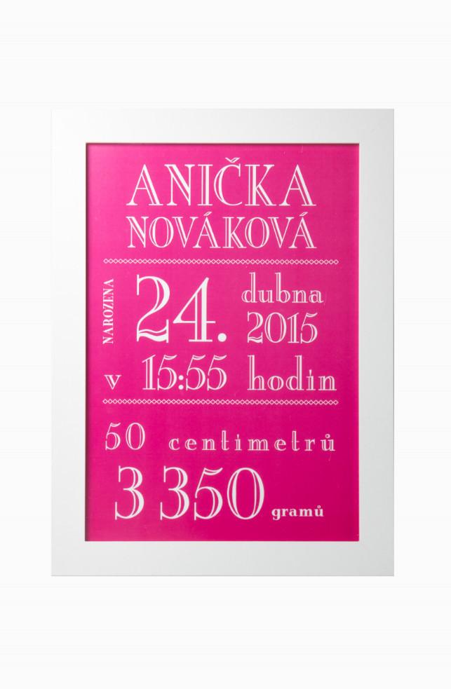Vítej na světě - obrázek na míru Plakát bez rámu a bez dárkového tubusu, 21 x 30 cm