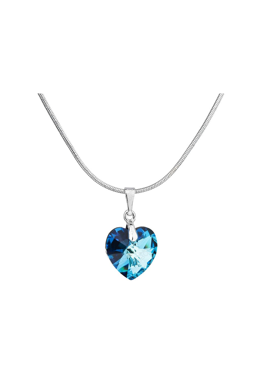 Náhrdelník srdce baculaté Bermuda Blue Swarovski