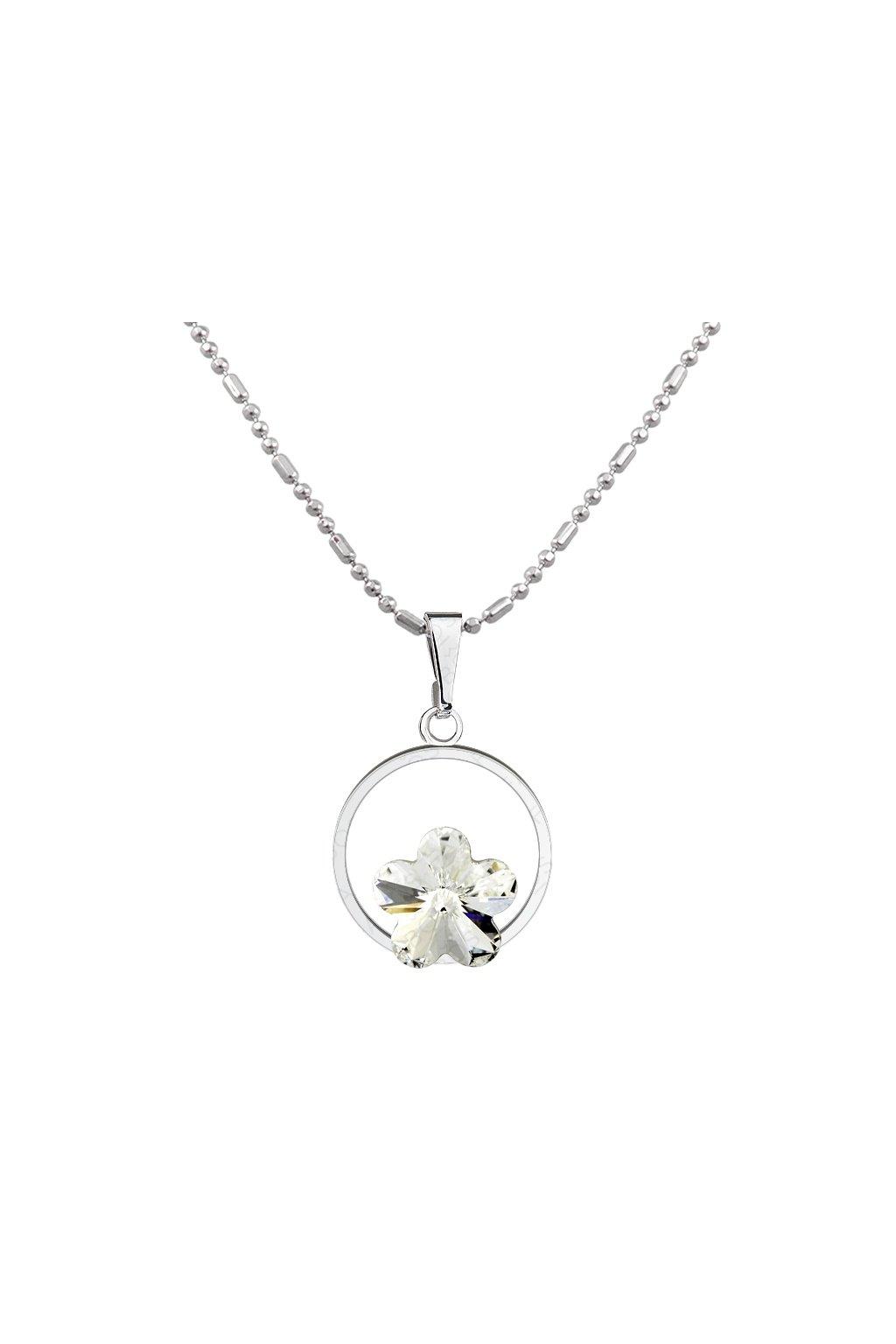 Náhrdelník kytka v kroužku Crystal  Elements Swarovski