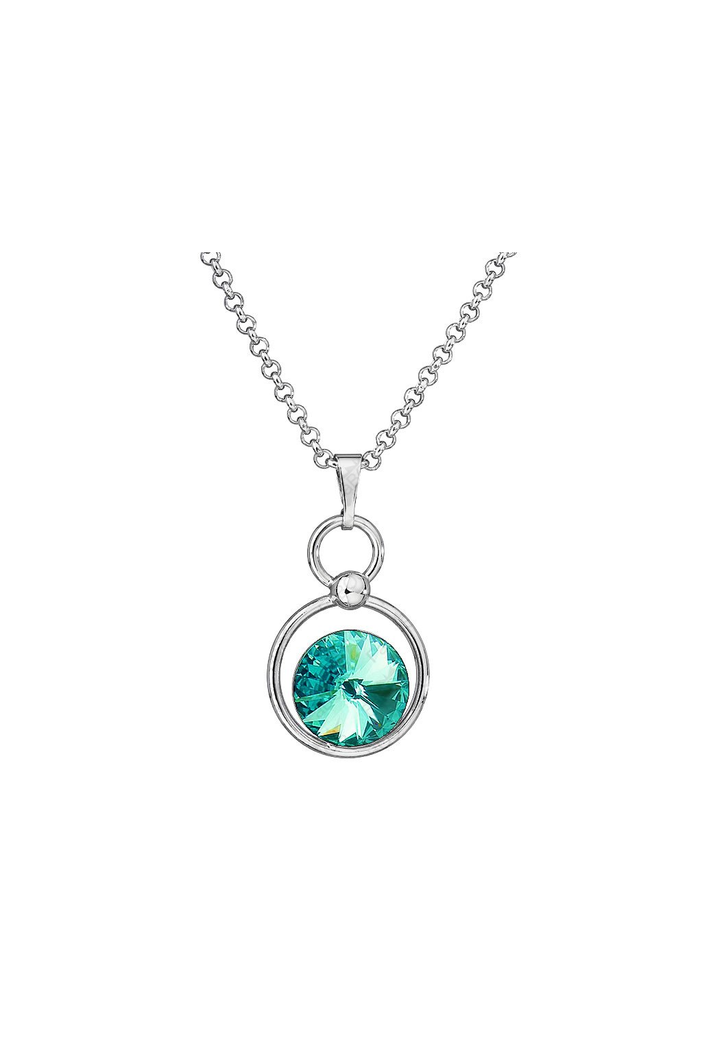 Náhrdelník Rivoli v kruhu Light turquoise Swarovski