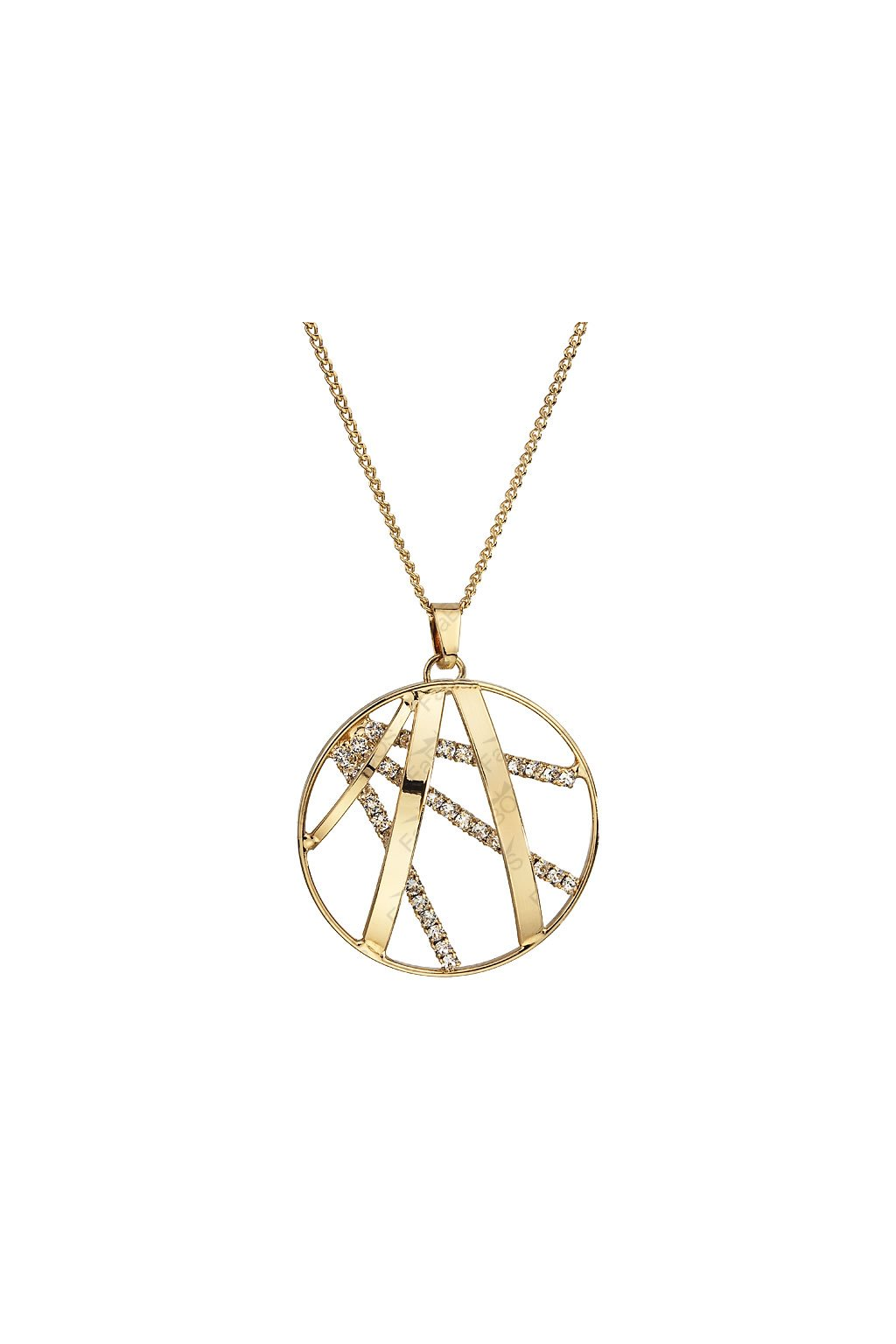 Náhrdelník Kulatý ornament velký Zlato SWAROVSKI