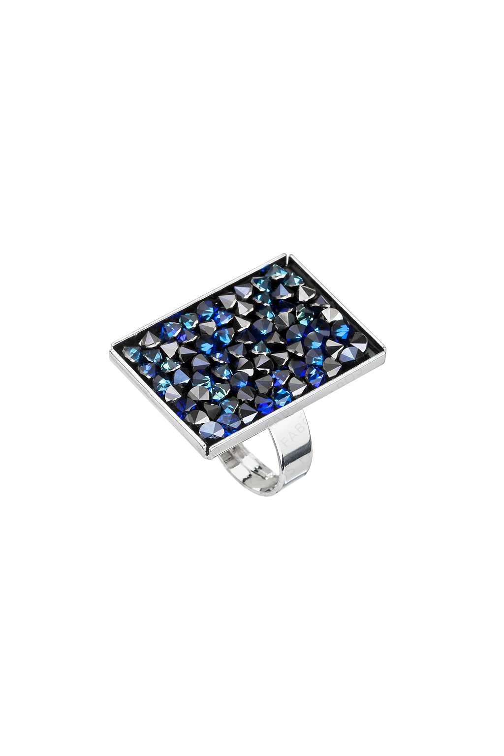 Prsten Crystal rocks obdélník Bermuda Blue Swarovski