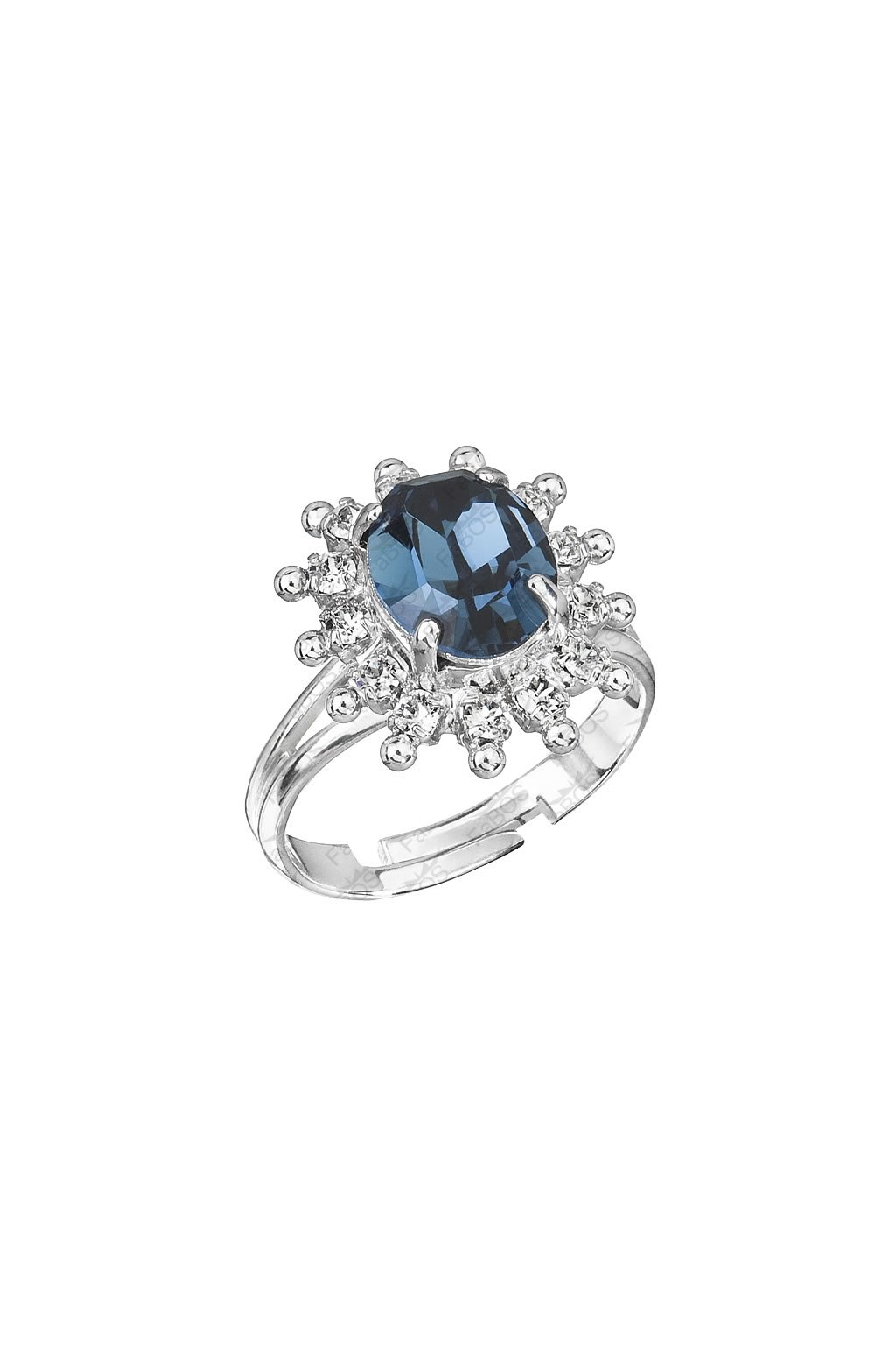 Prsten s modrým kamenem Swarovski