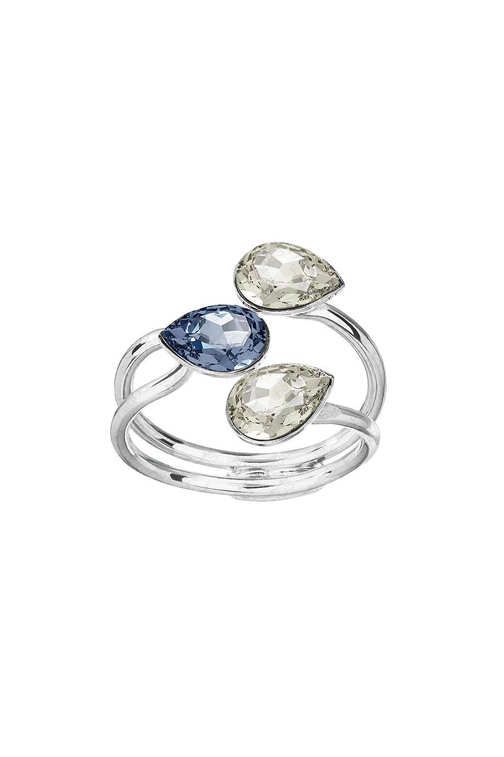Prsten Tři hrušky Denim Blue Swarovski