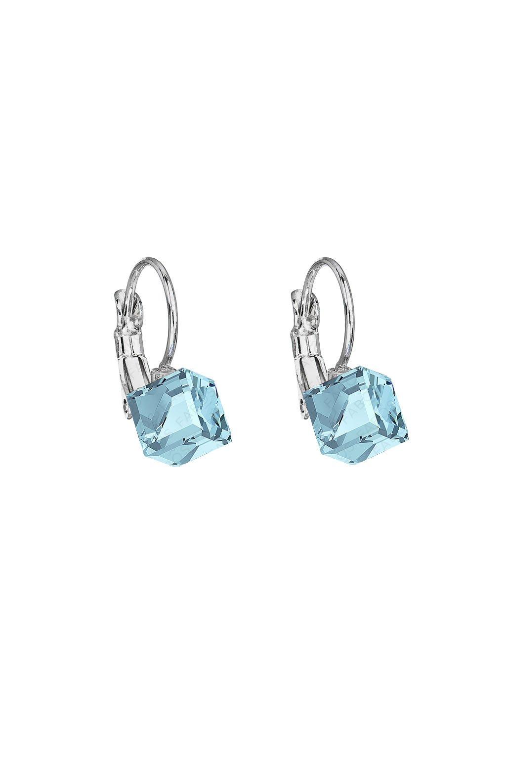 Stříbrné náušnice visací s krystaly Swarovski modré