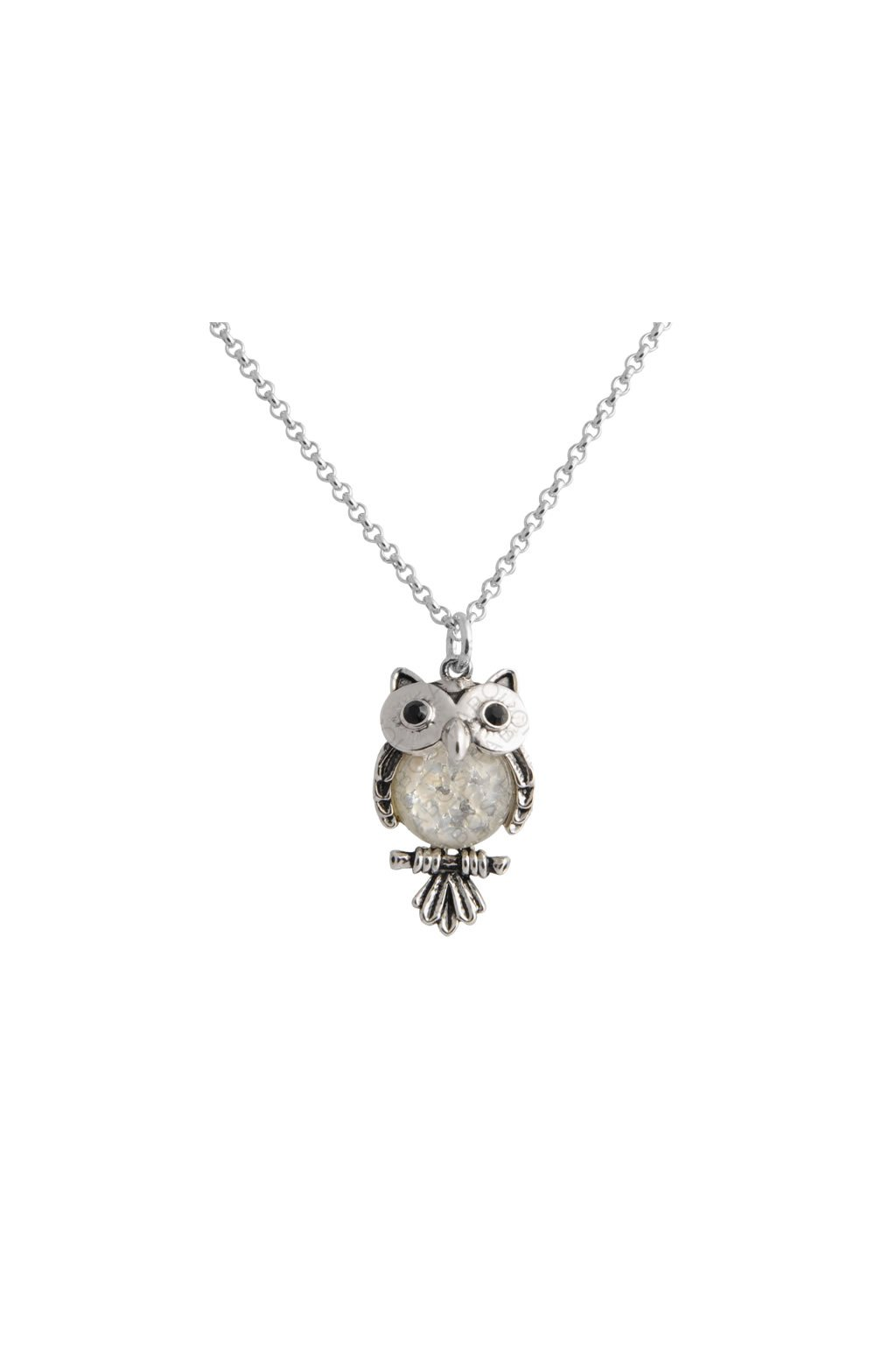 Náhrdelník Sova White Opal