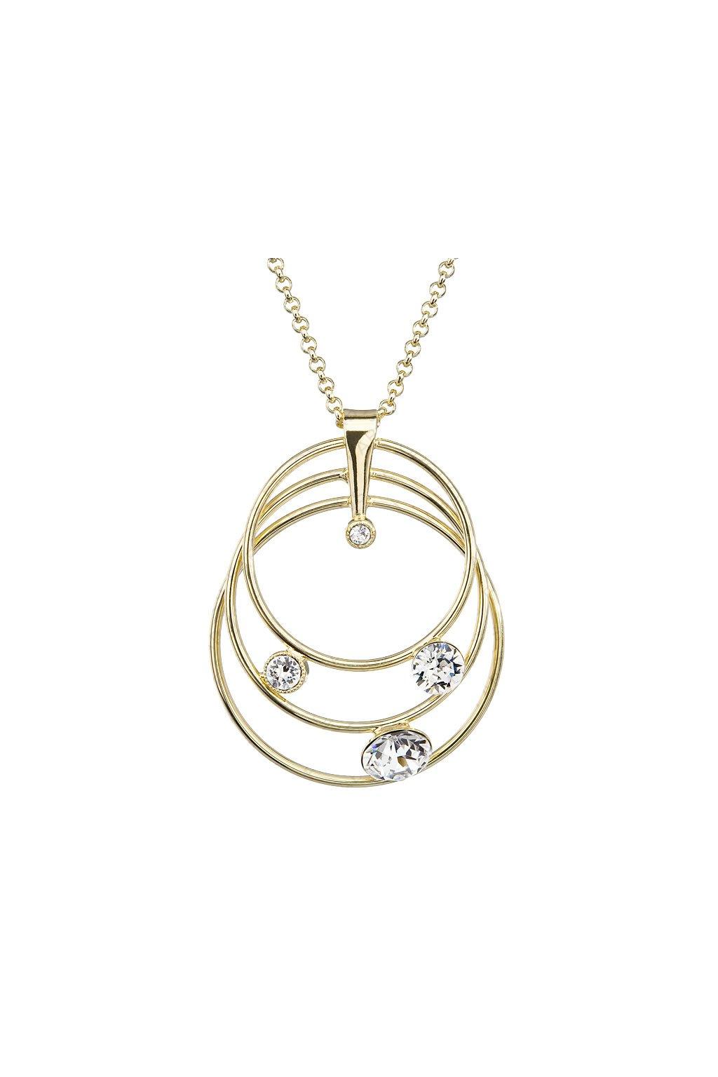 Náhrdelník Tři kruhy pozlacený Crystal SWAROVSKI