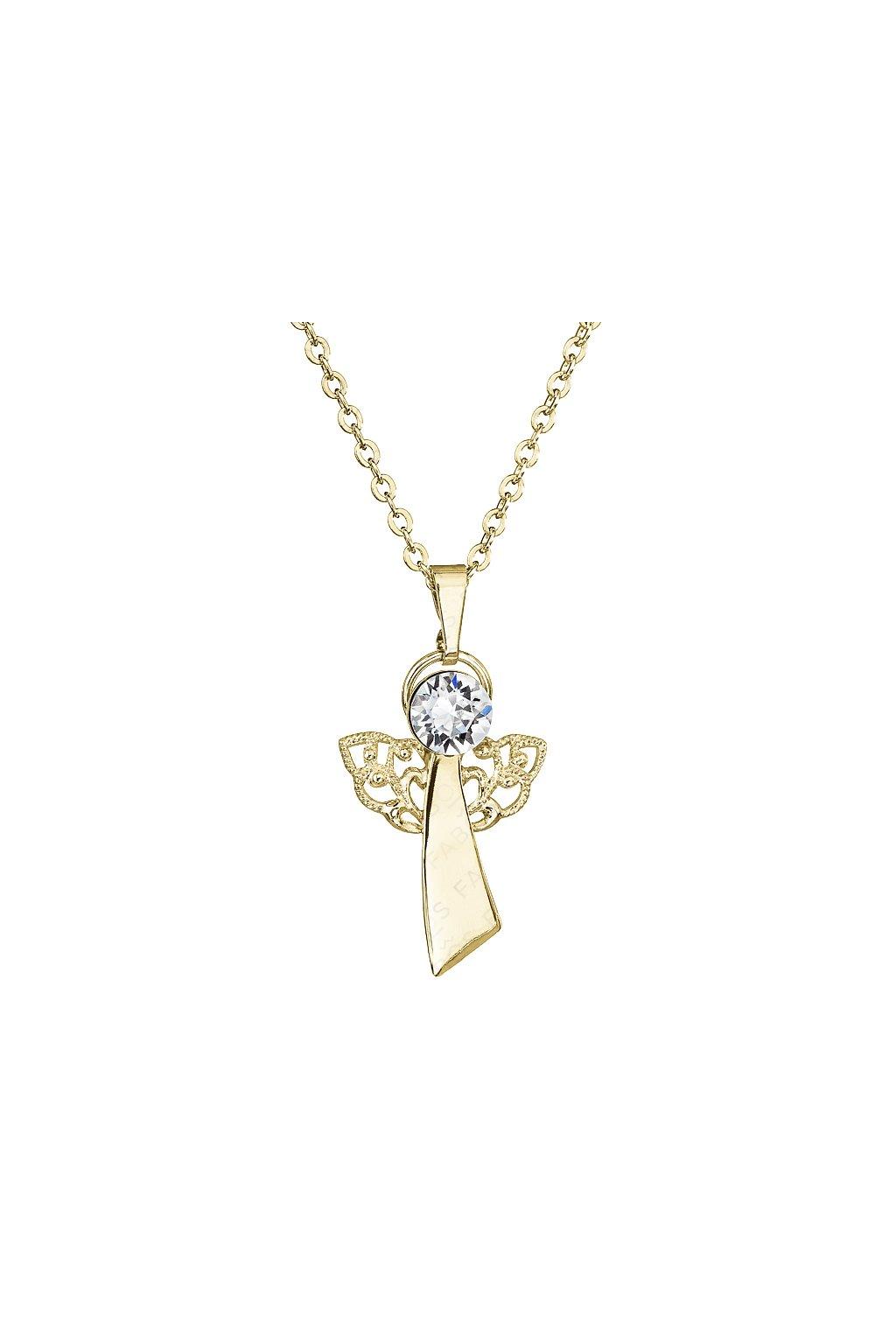 Náhrdelník Anděl víry Crystal pozlacený FABOS