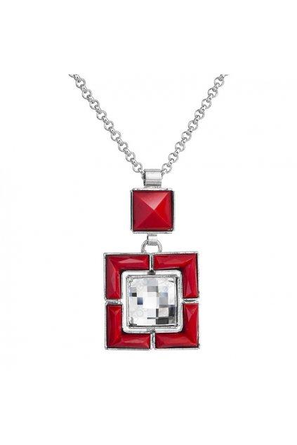 Náhrdelník Styl čtverec Červený korál SWAROVSKI