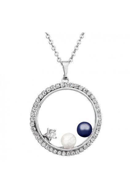 Náhrdelník Kruh s perlami Modrá Swarovski