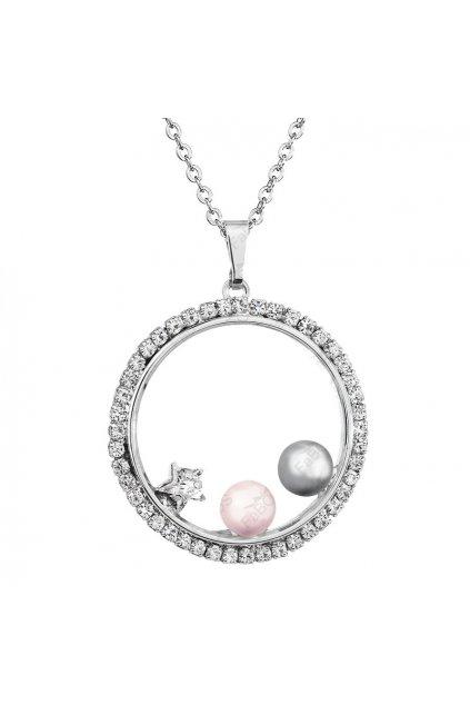 Náhrdelník Kruh s perlami Šedá, Růžová Swarovski