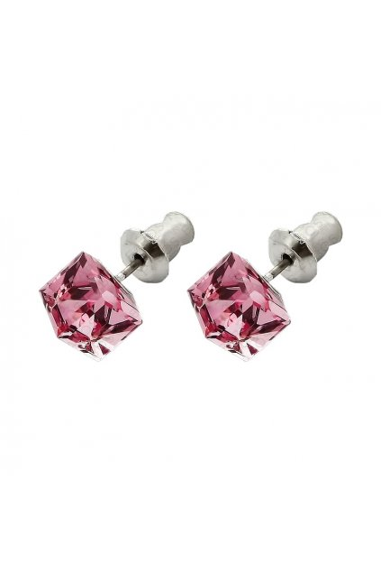 Náušnice Kostička 6mm light rose Swarovski elements