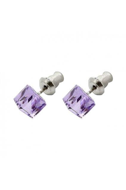 Náušnice Kostička 6mm Violet  elements Swarovski