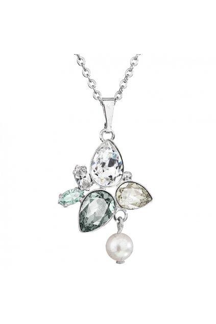 Náhrdelník Hrušky s perlou Black diamond SWAROVSKI