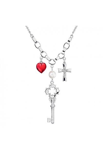 Náhrdelník Klíč, kříž, srdce Crystal SWAROVSKI