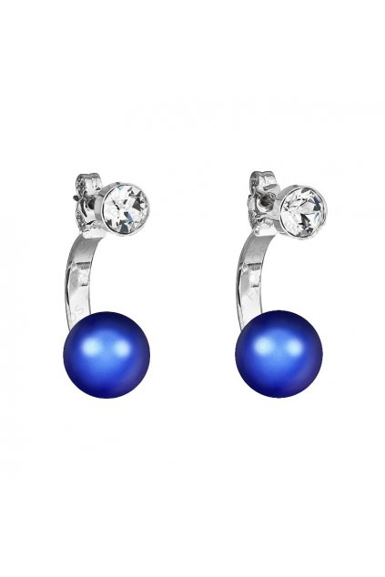 Náušnice Půlkruh perla Iridescent Dark Blue SWAROVSKI