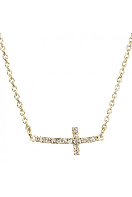 Náhrdelník Křížek ležatý Crystal pozlaceno SWAROVSKI