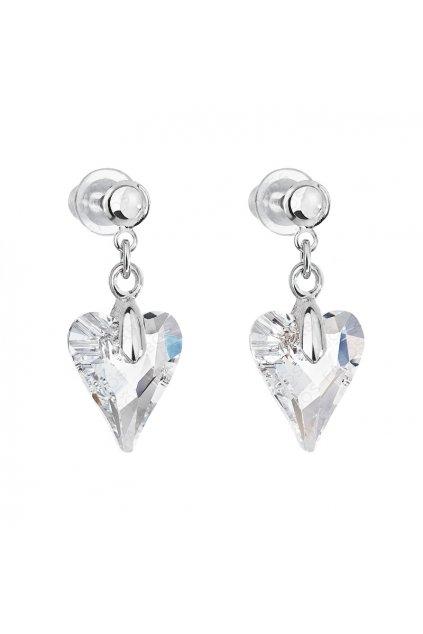 Náušnice srdce Amore Crystal FABOS