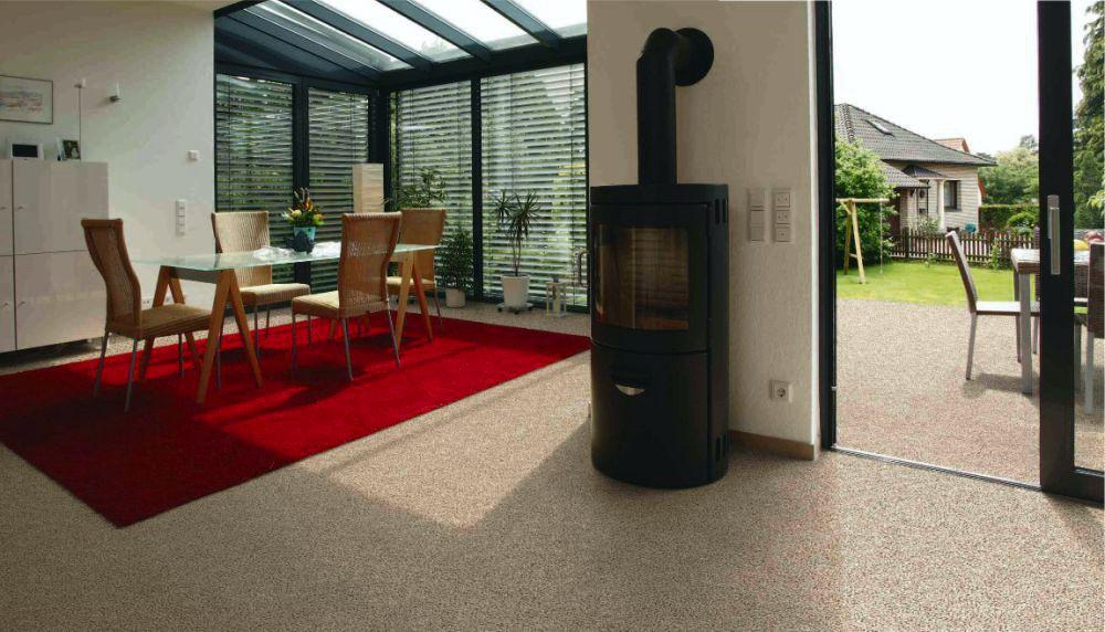 Kamenný koberec podlahové topení
