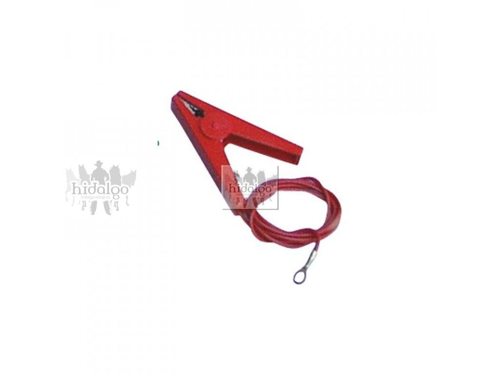 Přípojný kabel s klemou červený