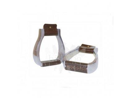 Hliníkové třmeny s koženým potahem
