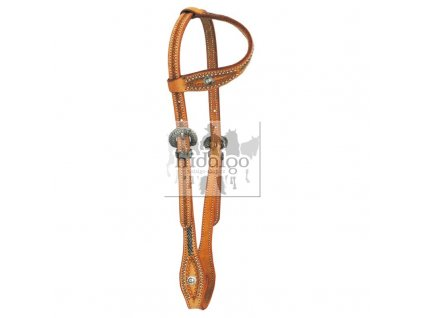 one ear headstall with tooling and rivets