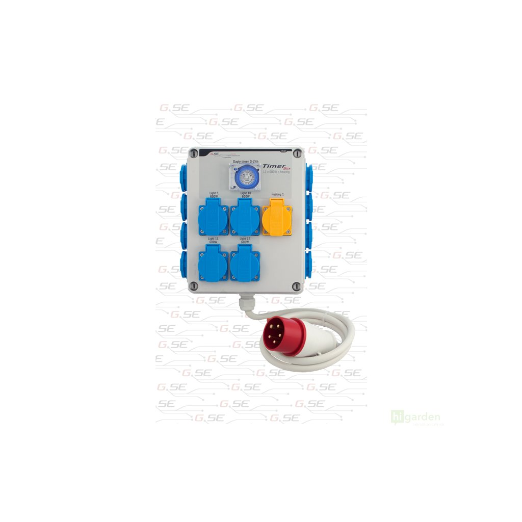 GSE Timer Box II 12x600W + topení 2000W, 400V (třífázové) Cover