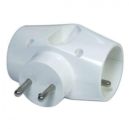 Rozbočovací zásuvka - 2x kulatá, 1 x plochá, bílá Cover
