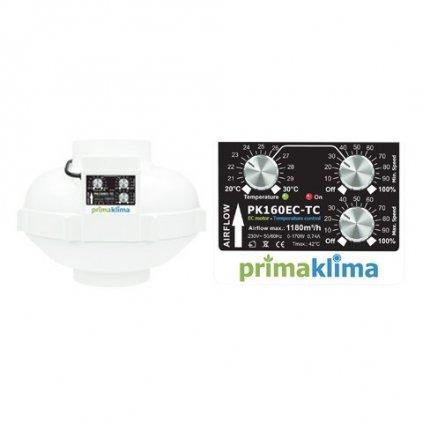 Ventilátor Prima Klima 160mm, 1180 m3/h - regulace teploty a min. otáček, EC motor Cover
