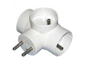 Rozbočovací zásuvka - 3× kulatá, bílá Cover