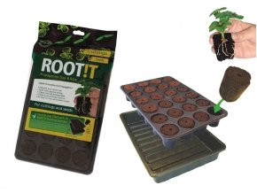 ROOT!T Natural Rooting Sponge 24 Cell Filled Trays - BOX 8ks