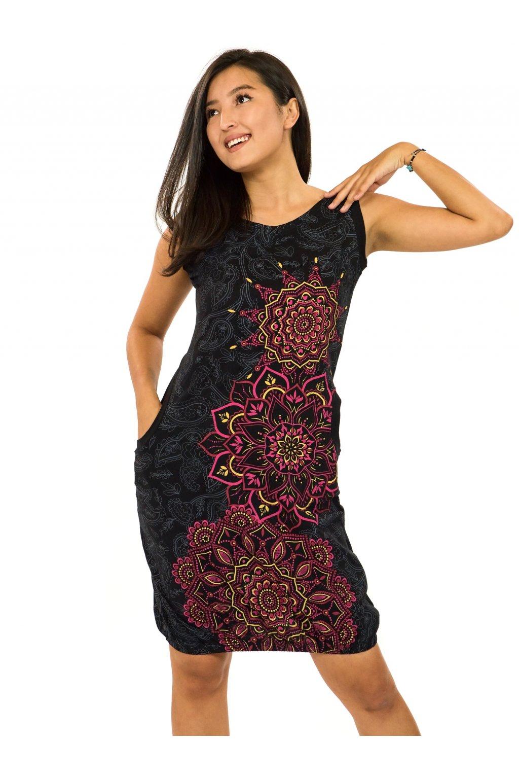 Balonové šaty Lhasa - černá s růžovou