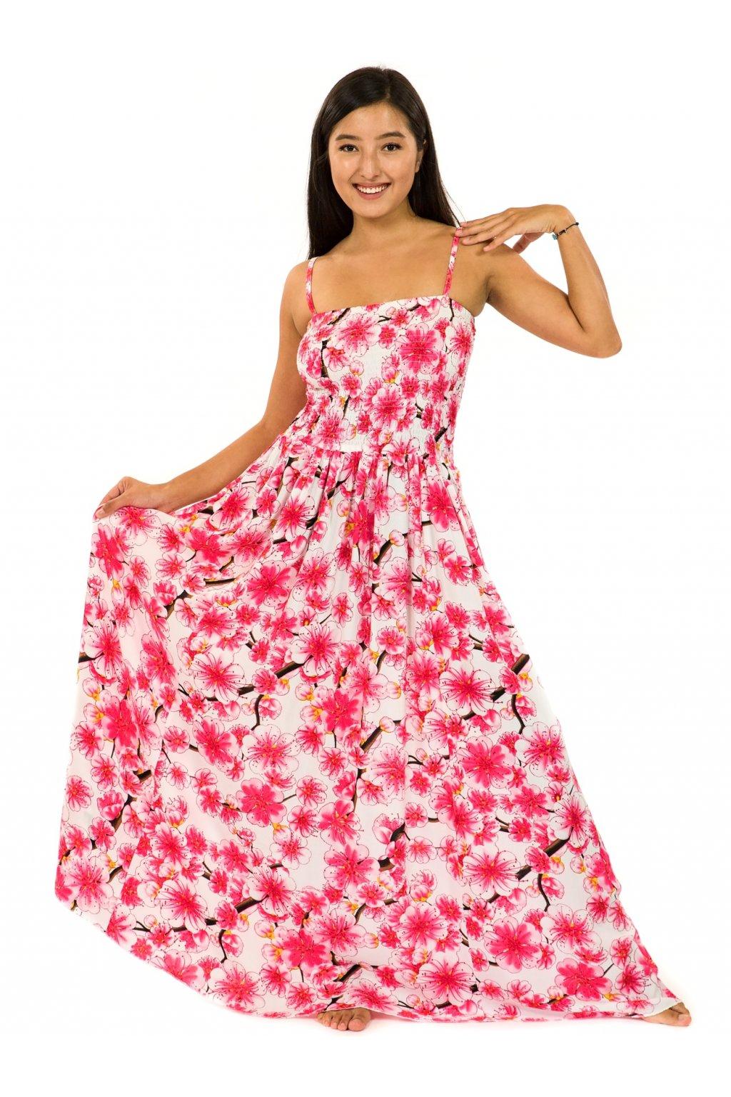 Dlouhé šaty s kapsami  Sakura- bílá s růžovou
