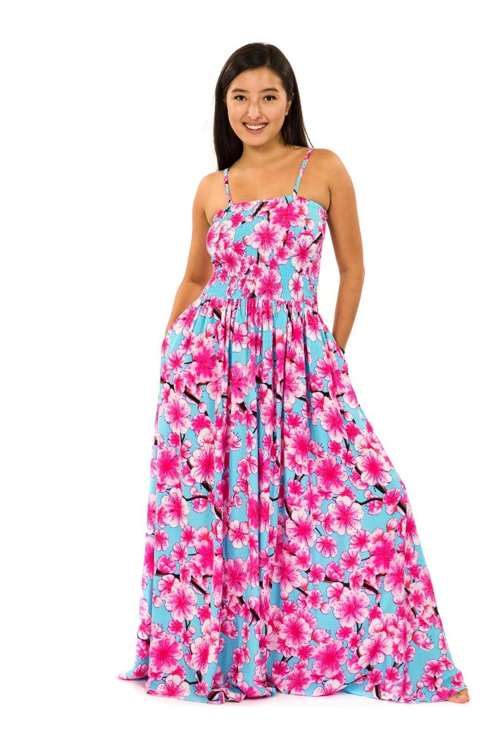 Dlouhé šaty s kapsami Sakura - tyrkysová s růžovou